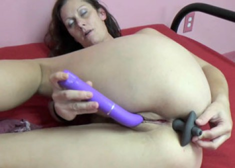 Horny MILF Trisha puts a toy in her ass