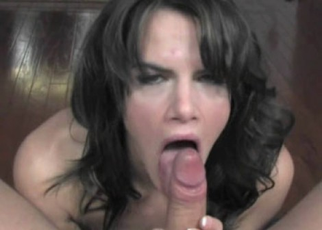 Busty brunette Brooke is giving a blowjob